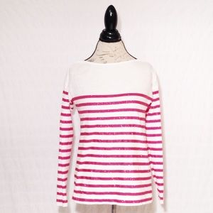 LOFT Boatneck Long Sleeved Pink White Striped Tee
